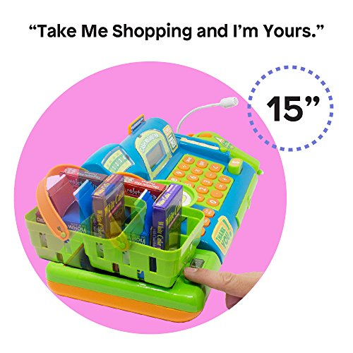 51JO1jdYO4L - Boley Kids Toy Cash Register - Pretend Play Educational Toy Cash Register With Electronic Sounds, Play Money, Grocery Toy and More!