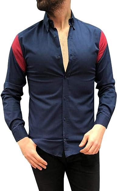 Camisas Hombre Manga Larga 2019 Nuevo SHOBDW Moda Cuello Mao Camisas Hombre Empalme A Rayas Button Slim Fit Camisetas Hombre Blusa Casual Tops: Amazon.es: Ropa y accesorios