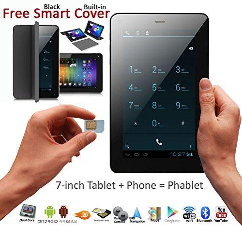 "Indigi 7"" Android 4.4 Phablet Tablet PC + 3G Smartphone 2-in-1 Phablet DualSim WiFi Built-in Smart Case (Black)"