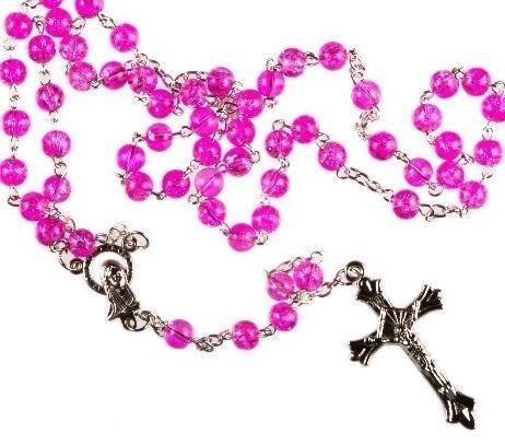 Pink Rosary. Rosary Bead Prayer Bead .Metal crucifix. Catholic Rosary Bead. by Rosary Bead by Rosary Bead