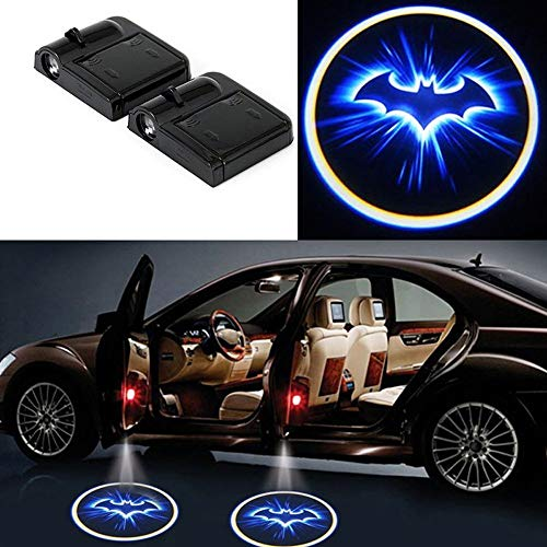 2 PCs Car Door Projector Lights, Superadater Universal Wireless Bat Logo Car Door Puddle Welcome Led Lights Ghost Shadow Automatically Open and Close Suitable for Most Cars