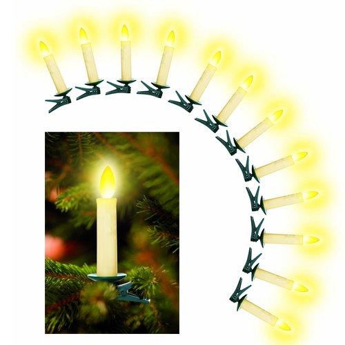 LED Christbaumkerzen kabellos mit beweglicher Flamme in Elfenbein - Flacker- oder Dauerlicht - 24er 36er oder 48er Set (36er Set)