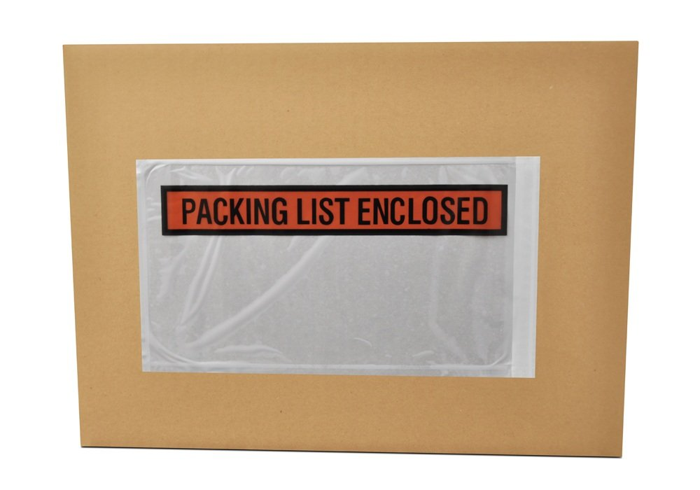 Packing List Enclosed Pouches, Invoice Label Envelopes, Clear Orange, 5 1/2 x 10 inch, Self Adhesive, 1000 Pack