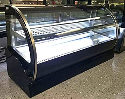 """59"""" Stainless Steel Commercial Curved Glass Front Refrigerated Bakery Cake Countertop Refrigerator Display Case Fridge Case Showcase, with 2 Sliding Doors, and LED Lights"""