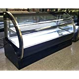 59 Stainless Steel Commercial Curved Glass Front Refrigerated Bakery Cake Countertop Refrigerator Display Case Fridge Case Showcase, with 2 Sliding Doors, and LED Lights