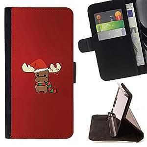 BullDog Case - FOR/Apple Iphone 6 PLUS 5.5 / - / reindeer Christmas winter red cute /- Monedero de cuero de la PU Llevar cubierta de la caja con el ID Credit Card Slots Flip funda de cuer