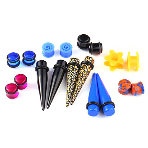 - BodyJ4You 18PC Random Mix Gauges 12mm Assorted Plug Tunnel Taper Steel Acrylic Silicone Expanders