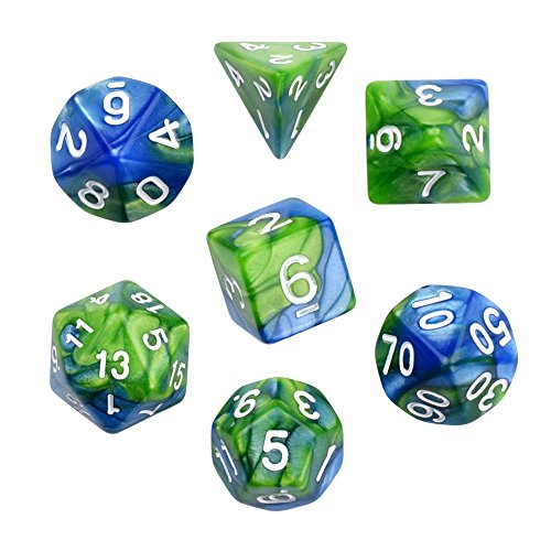 Green Blue Gemini Glowing Polyhedral 7-Die RPG Dice Set Galaxy Dnd Dice Set D20 D12 D10 D8 D6 D4 for Dungeons and Dragons wit (Poly Set Green)