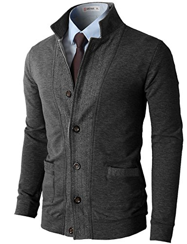 H2H Mens Two-Tone Herringbone Jacket Cardigans Charcoal US XL/Asia 2XL (JLSK03)