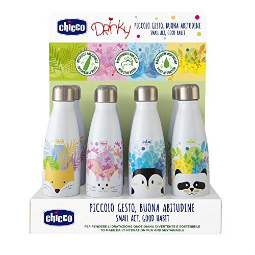 Chicco - Botella Acero Inoxidable Drinky 350Ml, Unisex