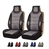FH Group Universal Fit Front Car Seat Cushion - Leatherette with Fabric (Gray), Set of 2