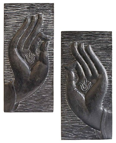 - Buddha Groove Large Buddha Hands Wall Panel Set of Two | 29.5 Inches Tall