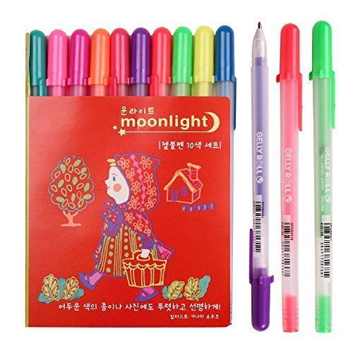 Sakura Pgb10c53 10-piece Gelly Roll Assorted Colors Blister Card Moonlight 10 Bold Point Gel Ink Pen Set