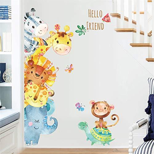 Door Cartoon - EWQHD Watercolor Small Animals Cartoon Door Stickers Kids Rooms Bedroom Wall Stickers Home Decor PVC Sticker Mural