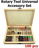 100 Pcs Universal Rotary Tool Accessories Kit with Wooden Locking Divided Organizer 1/8'' Shank Accessory for DIY Woodworking Carving Engraving Drilling Machine Sanding Polishing etc Super-Deal-Shop