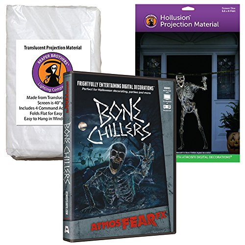 AtmosFEARfx Bone Chillers Halloween Digital Decoration DVD with Hollusion (lg) + Reaper Bros Projection (Halloween Home Haunts Dvd)