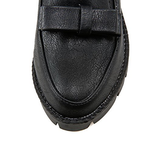 Sólido cordones Mujer Sin Redonda Negro AllhqFashion Material salón Puntera Suave Medio De Tacón Iz4gqxwx