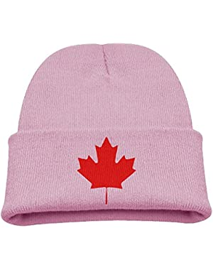 Canada Maple Leaf Flag Kid's Hats Winter Funny Soft Knit Beanie Cap, Unisex