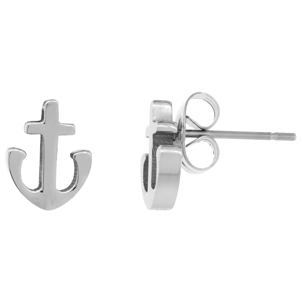 Small Stainless Steel Anchor Stud Earrings 1-10 Pack 3//8 inch