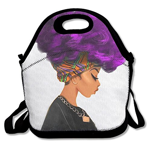 Adult Sexy Bag - Afro Sexy Lady Purple Hair African American Woman Girl Neoprene Lunch Bag Insulated Lunch Box Tote For Women Men Adult Kids Teens Boys Teenage Girls Toddlers (Black)