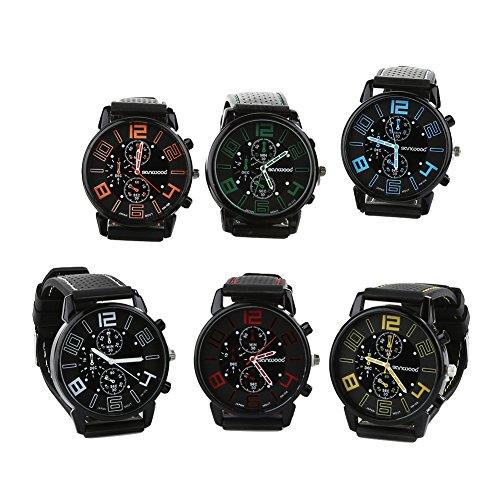FinancePlan Men's Fashion Quartz Analog Watches, Silicone Rubber Band Stainless Steel Wrist Watch on Sale Clearance by FinancePlan (Image #5)