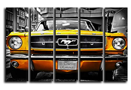 (Big Set Golden Ford Mustang 1964 Wall Art Decor Picture Painting Poster Print on 5 Canvas Panels Pieces - Muscle Pony Car Theme Wall Decoration Set - Wall Picture for)