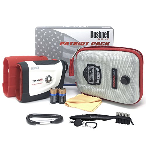 Bushnell Tour V4 Shift Laser Golf Rangefinder Bundle with Carrying Case, Carabiner, Lens Cloth, and Two (2) CR2 Batteries (Golf Brush (3 Brush Laser Lens)