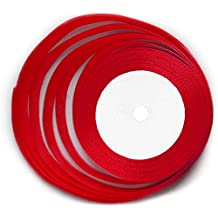 KGS Satin Ribbon | 25 Yards x 1/2 inch | 1 Roll/Pack (Red)
