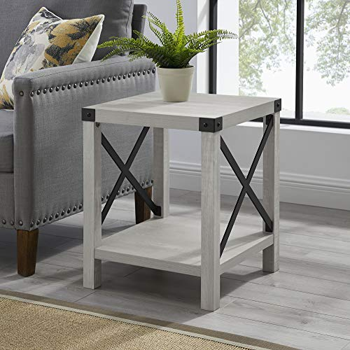 Walker Edison Furniture Company Rustic Modern Farmhouse Metal and Wood Square Side Accent Living Room Small End Table, 18 Inch, Stone Grey