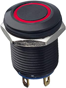 Mintice Schwarz Kfz 12mm Rot Led Licht 2a Momentaner Druckknopf Wasserdicht Kippschalter Metall Schalter Auto