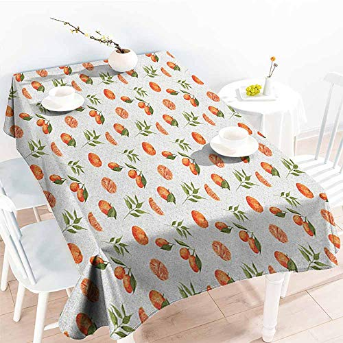 EwaskyOnline Custom Tablecloth,Burnt Orange Watercolor Orange and Tangerine Fruits with Leaves on Polka Dots,Dinner Picnic Table Cloth Home Decoration,W54x72L, Burnt Orange Fern Green -