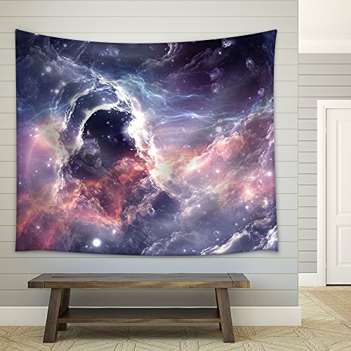 Plasmatic Nebula Deep Outer Space Background with Stars Fabric Wall