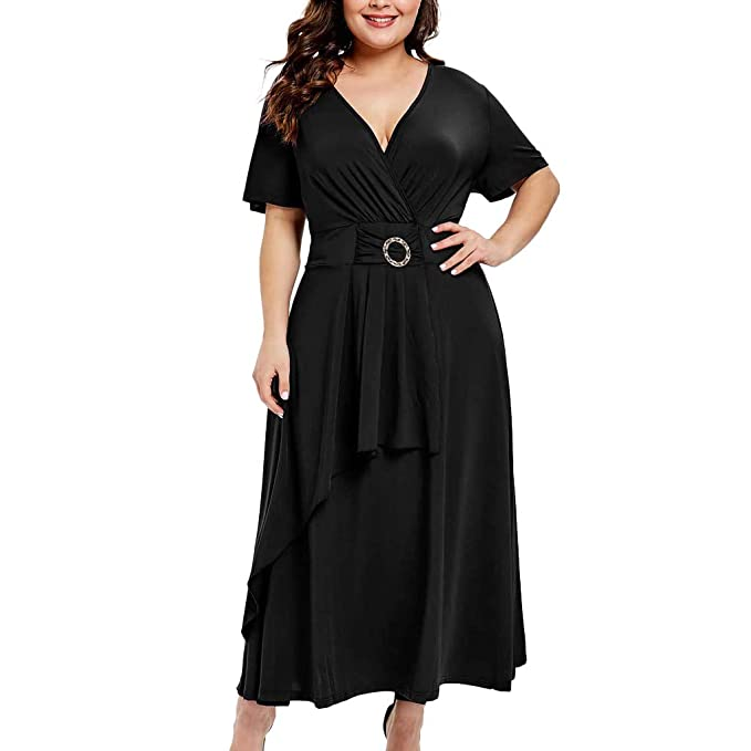 d077975b33 Startview Women Solid Dress Plus Size Dress Short Sleeve V-Neck Casual Dress  with Sashes