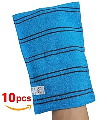 SongWol Korean Beauty Skin X-Large Viscos Exfoliating Bath Towel Gloves Strong Scrub Wash Clothes (10 pack)