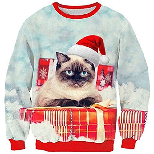 Loveternal Unisex Ugly Christmas Sweater Outfit Cat Santa Pullover Sweatshirts 3D Printed Long Sleeve Blouse Shirt M -