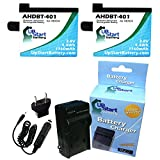 2x Pack - GoPro AHDBT-401 Battery + Charger with EU Adapter - Replacement for GoPro Hero4 Digital Camera Battery and Charger (1160mAh, 3.8V, Lithium-Ion)