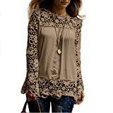 Pengy Women's Plus Size Tops Long Sleeve Round Neck Casual Chic Lace Patchwork Loose Blouse Tops T Shirt