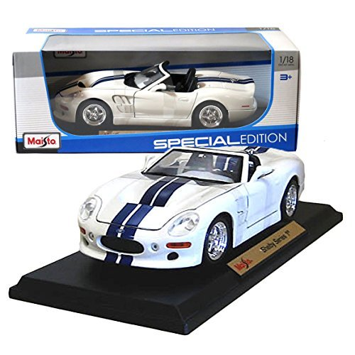 Maisto Year 2014 Special Edition Series 1:18 Scale Die Cast Car Set - White Color with Navy Blue Stripes High Performance Roadster SHELBY SERIES 1 with Display Base (Car Dimension: - 1 Series Model Shelby