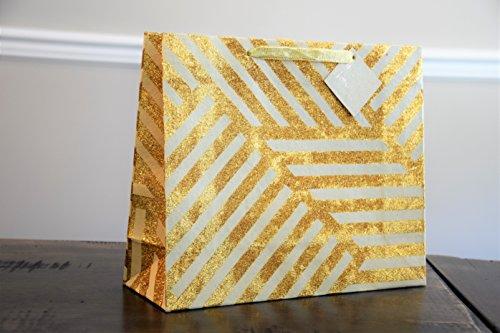 (Marble+Vine Best Large Luxury Gift Bag: Geometric Zigzag Ivory & Gold Sparkle Premium (Set of 3))