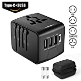 Universal Travel Adapter All-in-One International Travel Charger, High Speed 3.0 Type C+3-Port USB Worldwide AC Wall Outlet Plugs for Business and Travel {2018 Upgraded Version}