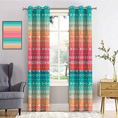 Arrow Decor 99% Blackout Curtains Colorful Ethnic Tribal Motifs with Geometric Shapes Triangles Old Aztec Maya Folkloric Art Home for Bedroom Kindergarten Living Room W96 x L72 Inch Multi ()
