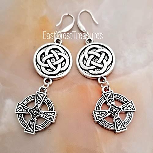 - Celtic Cross earrings-Geometric Circle drop celtic Earrings- Irish Scottish Celtic wedding jewelry gft for women teens-925 silver wires