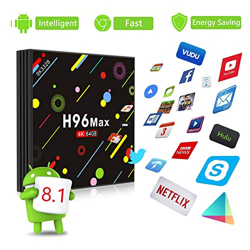 Android 8.1 4K Smart TV Box 4G+64GB H96 Max Display Screen RK3328 UHD Quad-Core WiFi Ultra HD H.265 Bluetooth