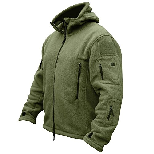ReFire Gear Men's Warm Military Tactical Sport Fleece Hoodie Jacket, Army Green, X-Large