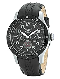 Aviator Mens AVW4623G166 Multi Dial Stainless Steel Watch With Black Leather Strap