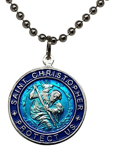 St. Christopher Surf Necklace, Large Pendant, Aqua Blue with Navy Rim, 23 Inch Ball (Saint Christopher Medallion)