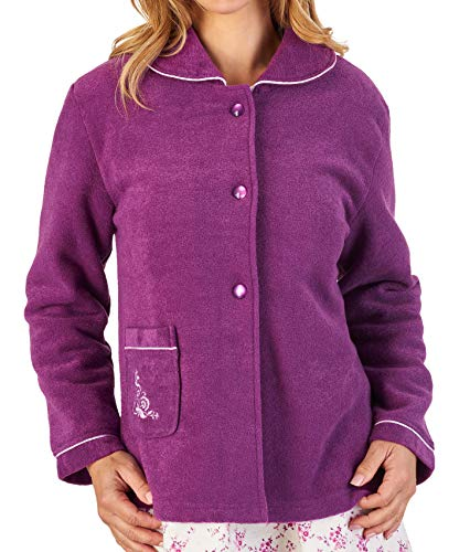 Slenderella Womens Button Up Bed Jacket Soft Boucle Fleece Embroidered Housecoat Small -