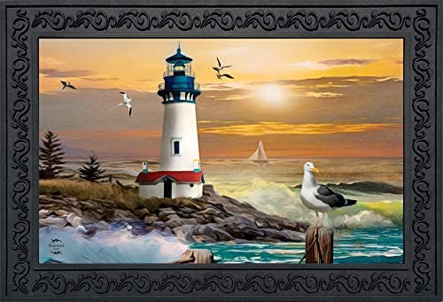 Briarwood Lane Sunset Lighthouse Summer Doormat Nautical Indoor Outdoor 18 x30