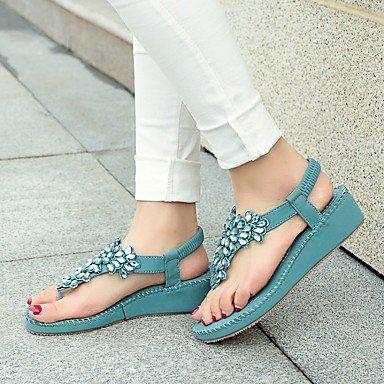LvYuan Tacón Cuña-Confort Zapatos del club-Sandalias-Oficina y Trabajo Vestido Informal-PU-Azul Morado Almendra Blue