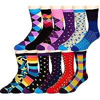 Men's Pattern Dress Funky Fun Colorful Socks 12 Assorted Patterns Size 10-13